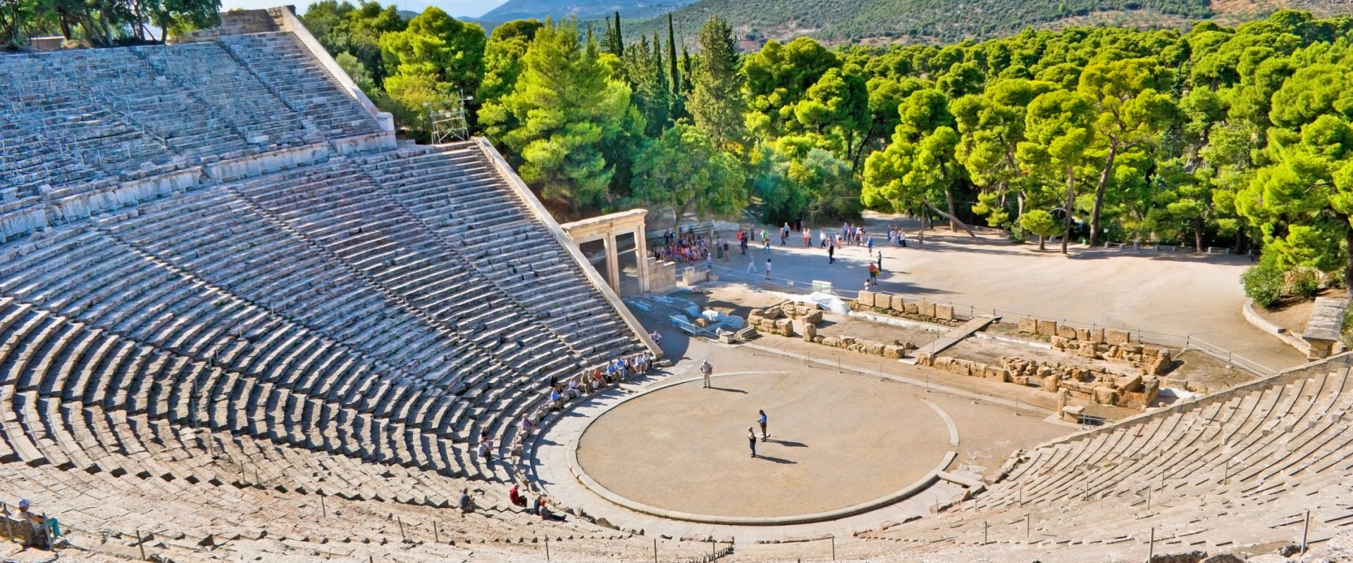 The ancient theatre of Epidaurus, remarkable for its amazing acoustic. A trademark of Classical Greece.