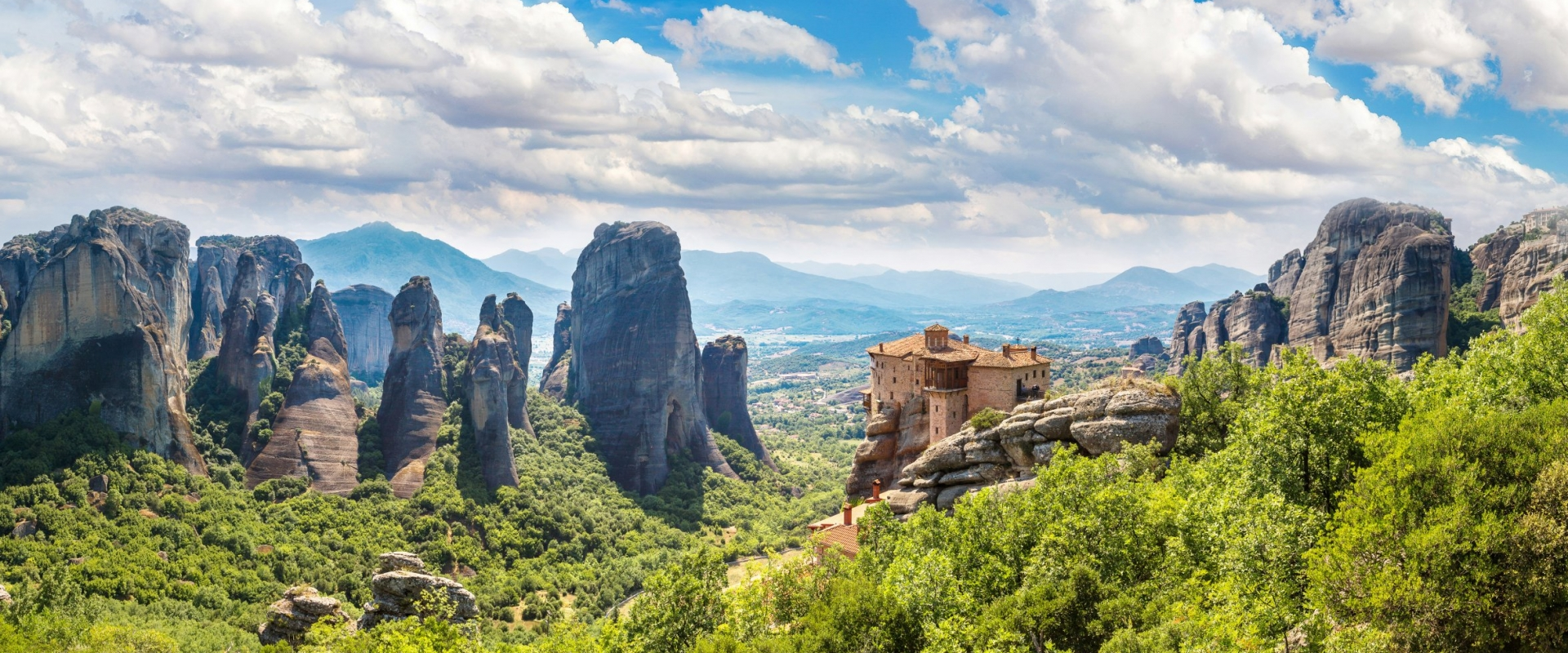 Rocks and monasteries in Meteora, Greece