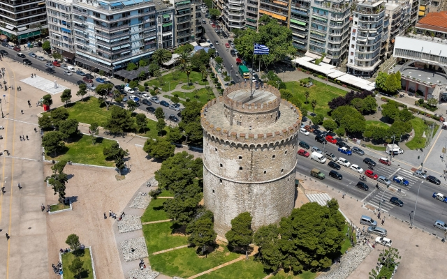 Aerial view of the Whiite Tower, Thessaloniki, Greece