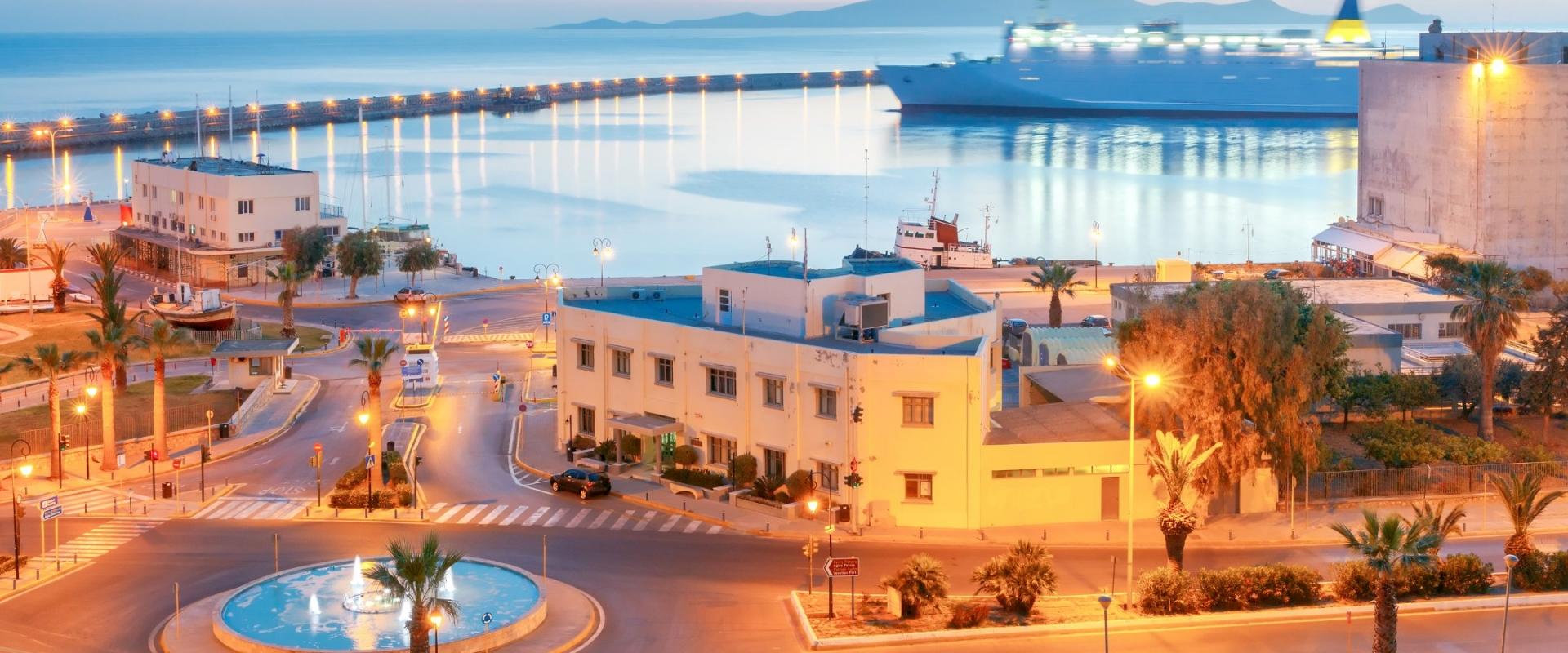 Heraklion. Sea port at sunrise in Crete