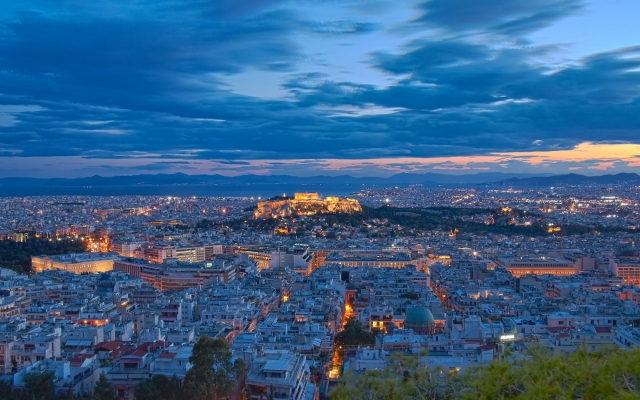 Acropolis at twilight, Athens Greece