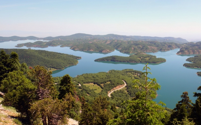 Lake plastira panorama