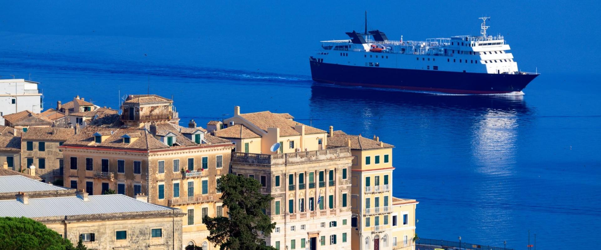 Enormous cargo ship near Corfu city, Greece